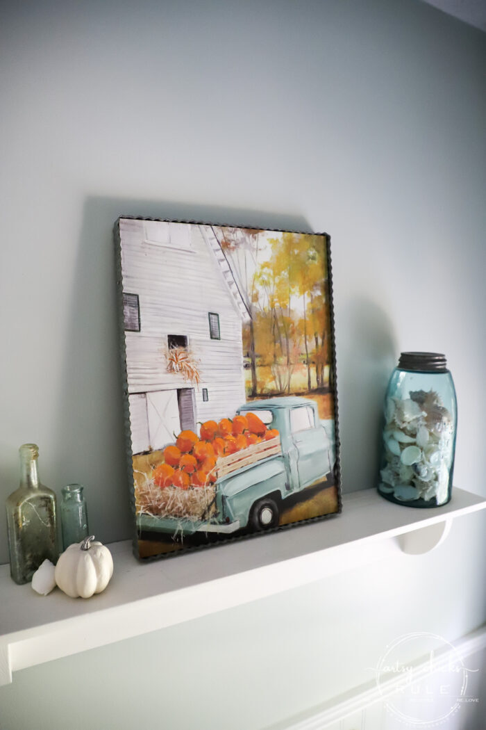 Fall front porch and fall home. Traditional and a bit of non-traditional too! artsychicksrule.com #fallfrontporch #fallhome