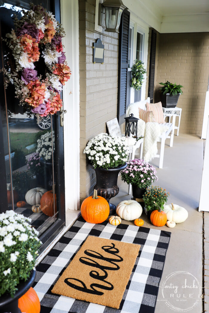 Fall front porch with plum, ivory and orange! Tradtional and a bit of non-traditional too! artsychicksrule.com #fallfrontporch #fallporch