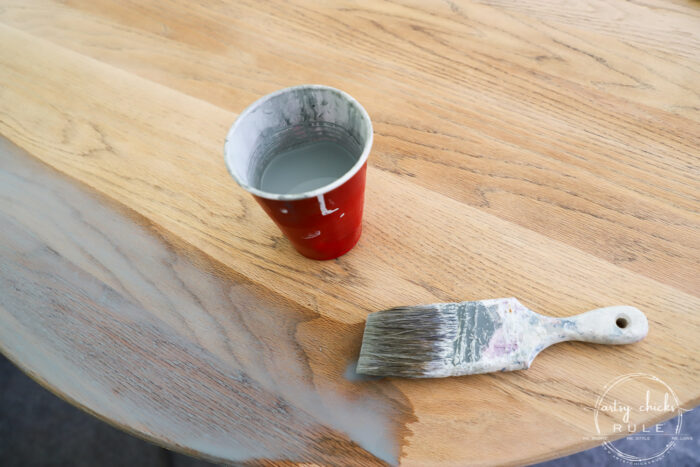 Create a pickled wood look finish on your old orangey oak...simply with these 2 products! artsychicksrule.com #pickledwood