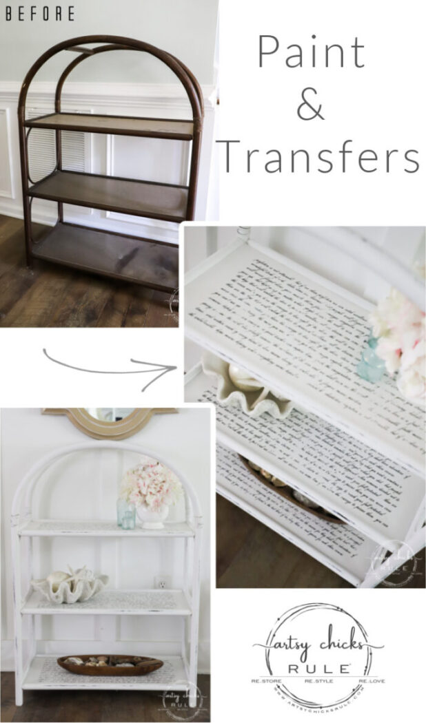 This thrifted arched shelf got a brand new look with paint (easy!) and pretty decorative transfers (so easy!). artsychicksrule.com
