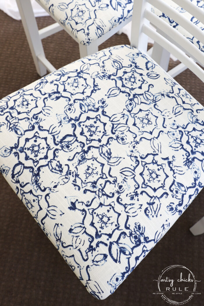 A simple bar stool makeover with spray paint and beautiful discount fabric! artsychicksrule.com #barstoolmakeover #barstoolideas