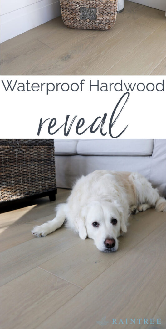 It's reveal day! I'm sharing our whole beach condo and our beautiful new waterproof hardwood flooring.artsychicksrule.com #sponsored #raintreeflooring #woodwithoutworry #waterproofflooring #waterproofhardwood #realhardwood