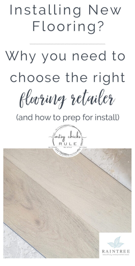 Today I'm talking about our waterproof hardwood flooring update, the importance of finding the right retailer, and how to prep for flooring install. artsychicksrule.com #sp #raintreefloors #waterproofhardwood #raintreeflooring #woodwithoutworry #waterproofflooring