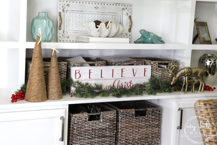 Creating a cozy Christmas kitchen (and home) with simple touches of red and treasured collections for a relaxed, homey feel. artsychicksrule.com