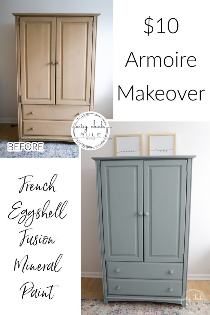 This French Eggshell Fusion Mineral paint is a beautiful choice for a large piece like this! And not topcoat needed! artsychicksrule.com