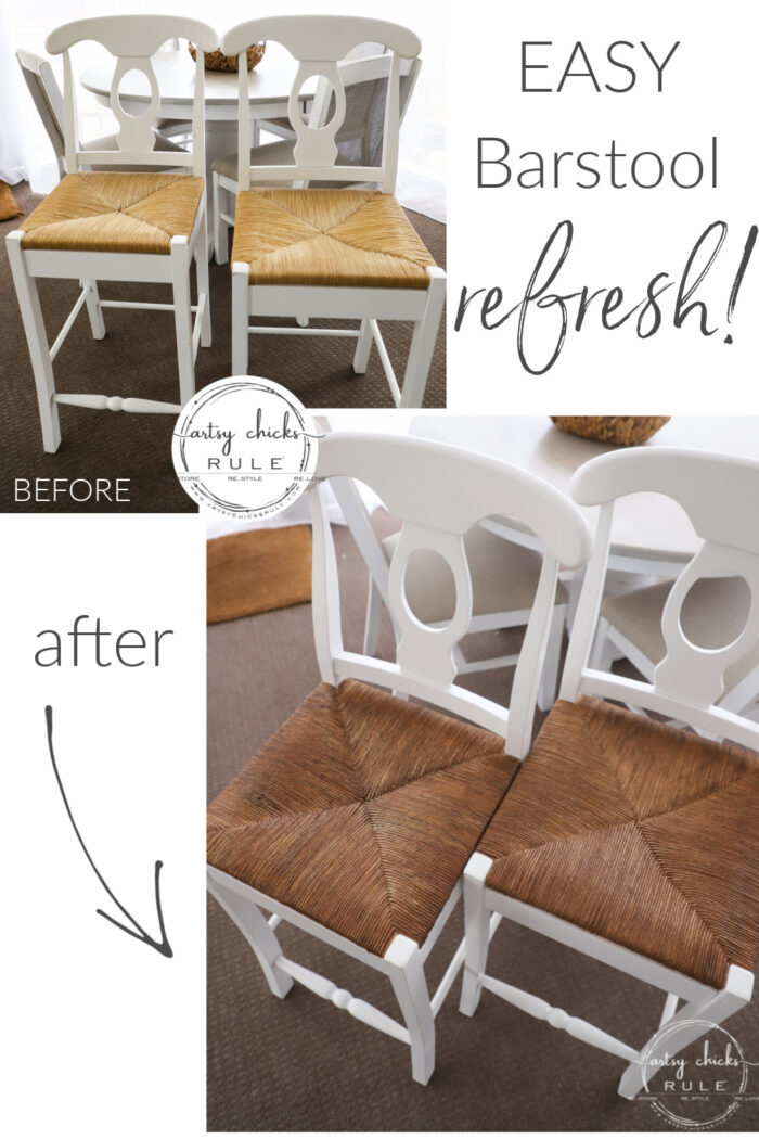 This simple, quick and easy barstool refresh will have your old ones looking like new!artsychicksrule.com