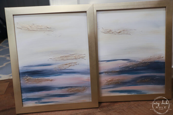Abstract beach art with gold frames