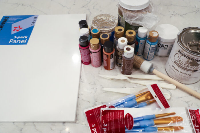 paint supplies, canvas and brushes for painting