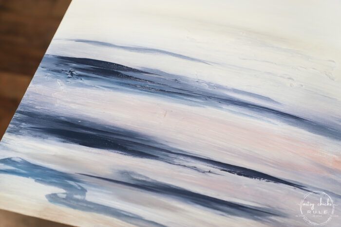Blended paint on the abstract beach painting