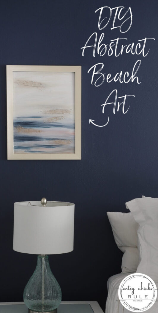 abstract painting on navy bedroom wall