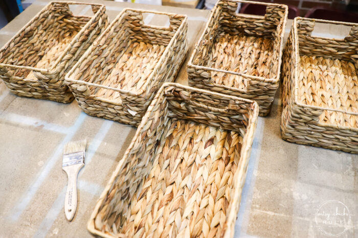 plain baskets before staining