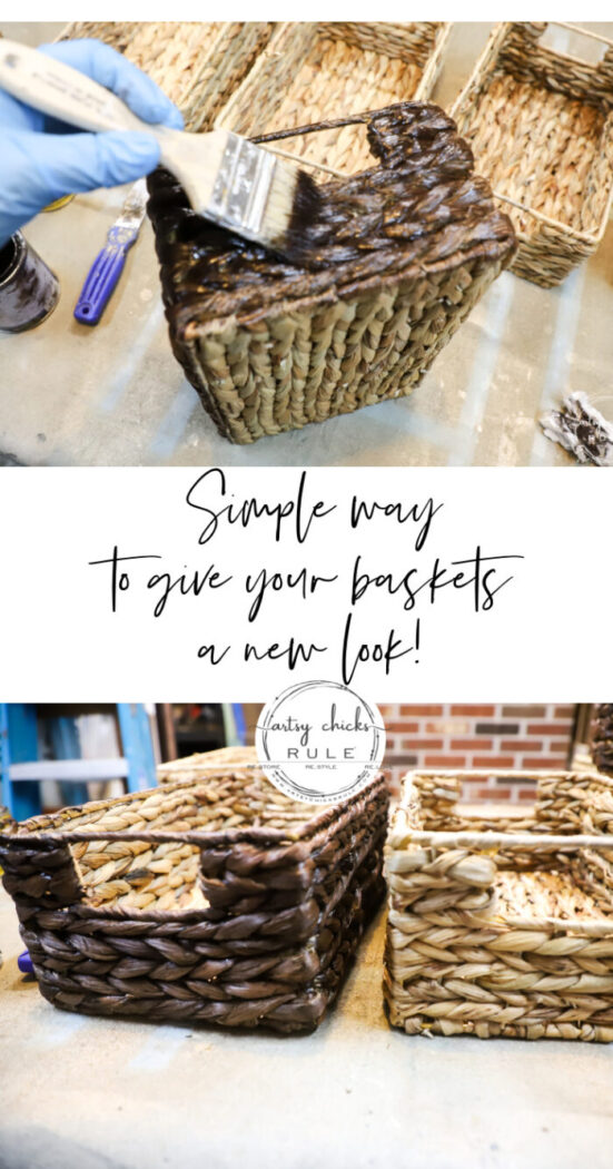 Another quick and easy basket makeover! Make your old baskets, cheap inexpensive baskets (or just plain baskets) look amazing and new! artsychicksrule.com