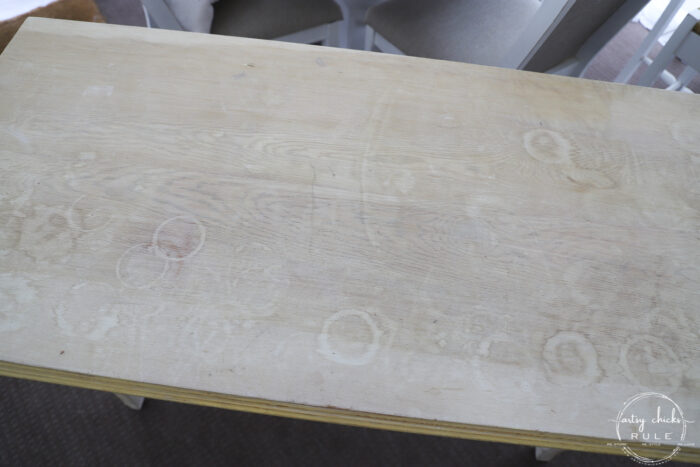 console table top with water rings