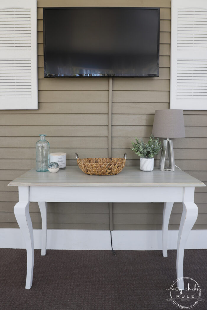 console table styled while turned the opposite way