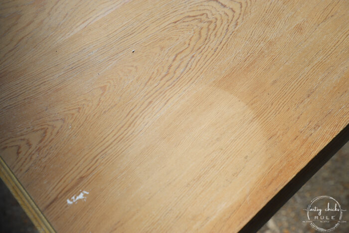 table top after bleaching once showing large ring stain