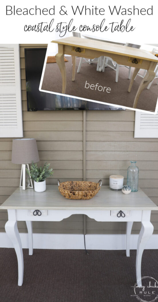 This coastal console table got a new look with wood bleach and a little white paint! artsychicksrule.com