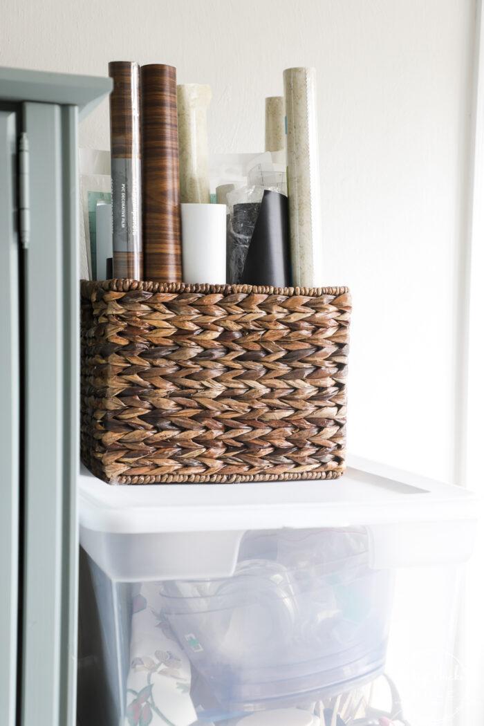 basket with vinyl