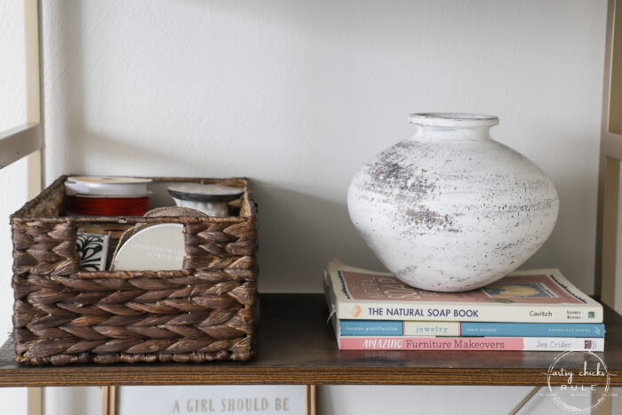 white pottery and books