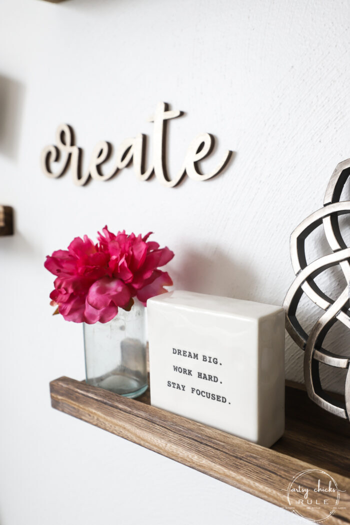 picture shelves with inspirational quotes