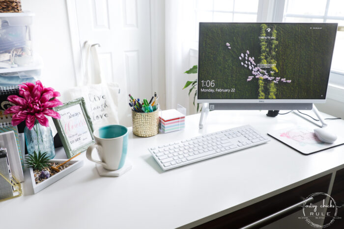 desktop with computer and keyboard