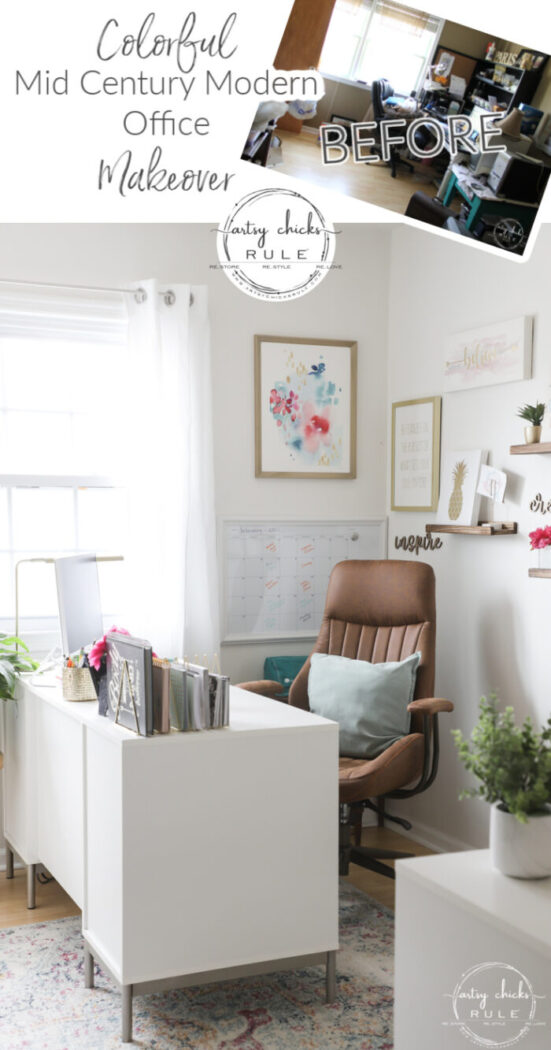 The colorful mid century modern office makeover is DONE! Yippee! All the sources and more in the post. artsychicksrule.com
