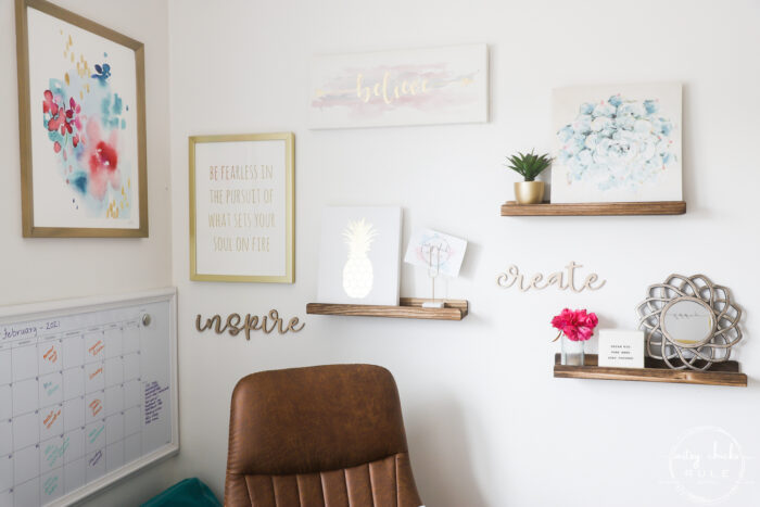 inspirational wall with quotes and signs