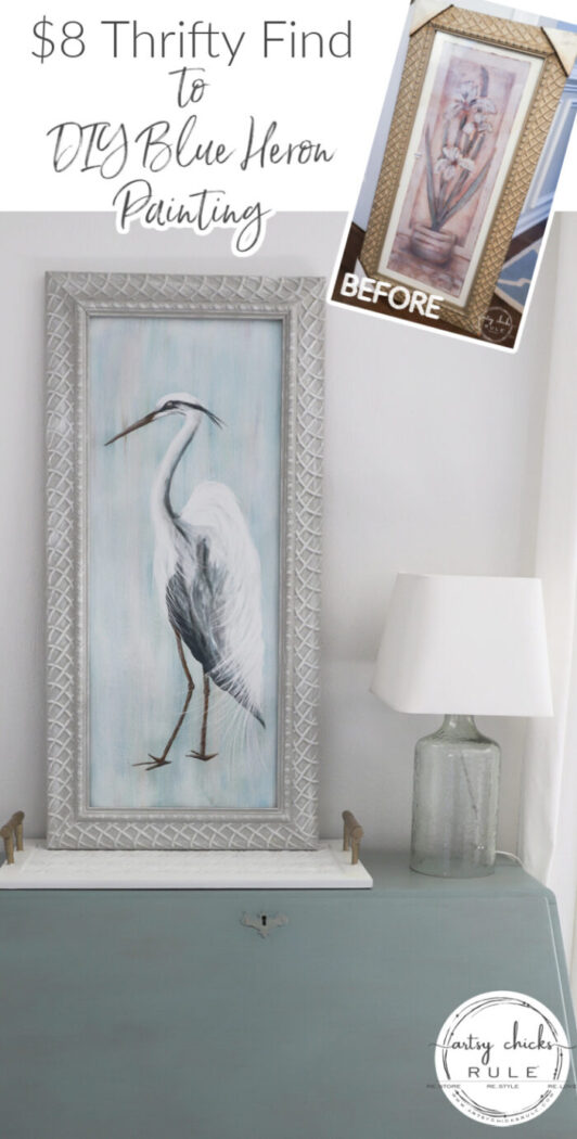 I'm sharing my step by step tutorial on how I painted this DIY Blue Heron painting! (and with an $8 thrifty find too!) artsychicksrule.com
