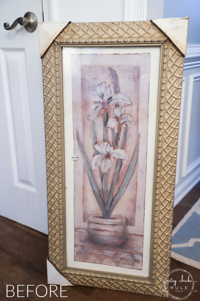 DIY Blue Heron painting $8 thrifty find before photo