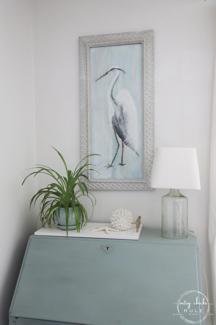 Blue Heron Painting over blue secretary