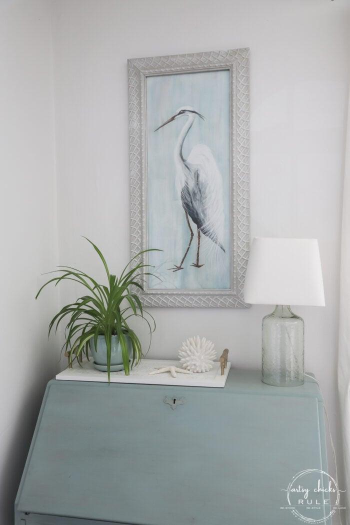 Blue Heron Painting over blue secretary
