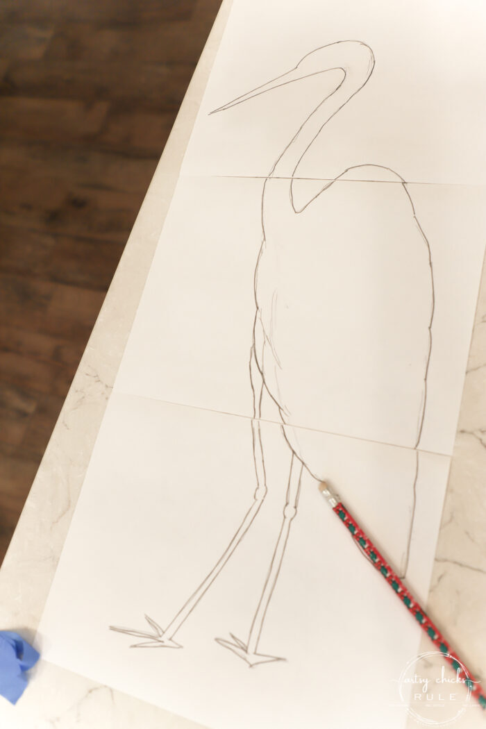 pencil drawing of blue heron