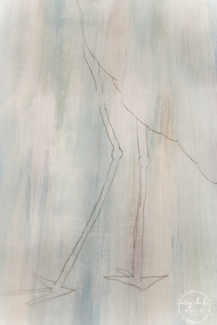 transferred blue heron pencil drawing