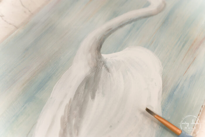 shading in blue heron painting