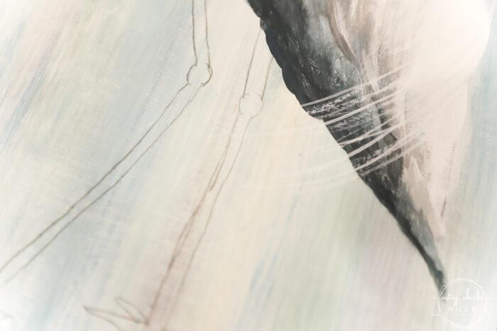 pencil drawing of blue heron legs