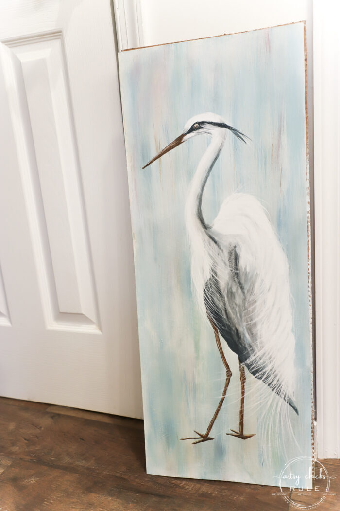 first look at finished blue heron painting
