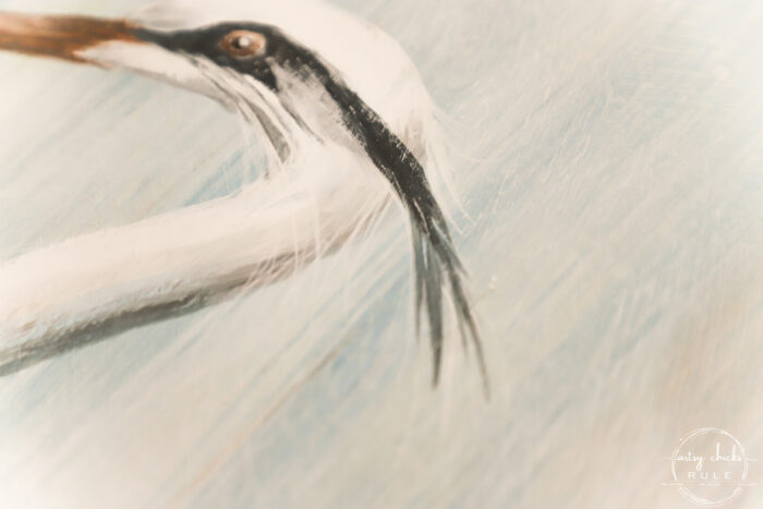adding wisps of feathers on blue heron head