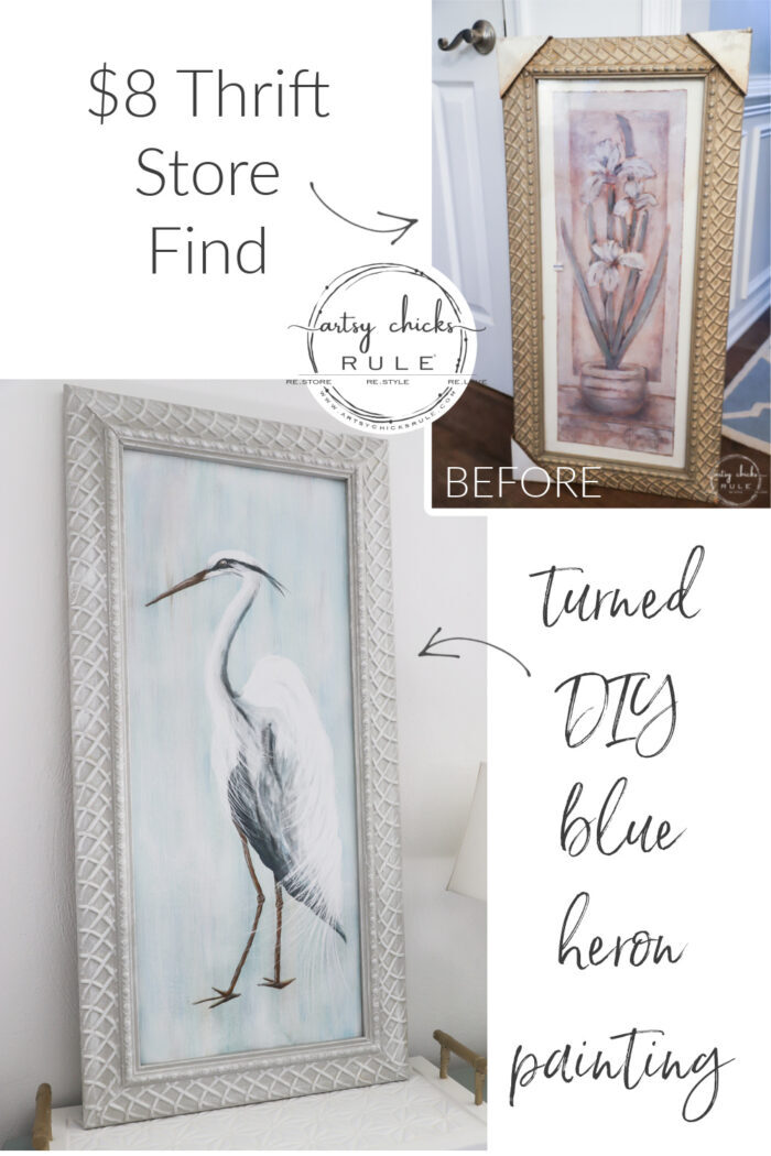 Pin before and after blue heron painting