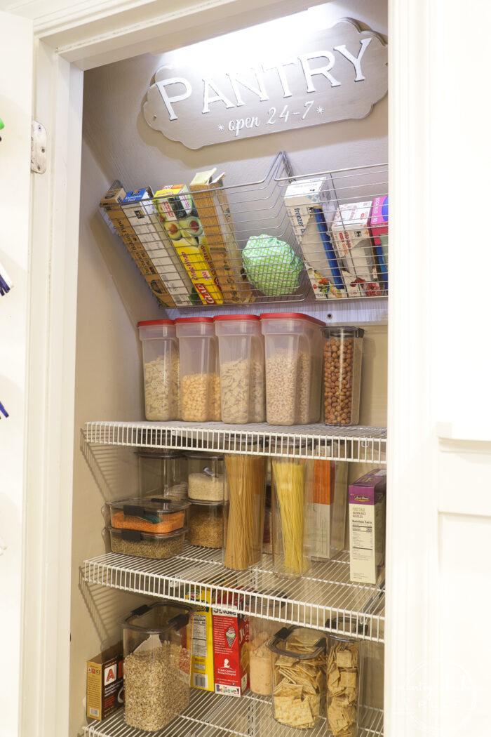 Pantry closet showing light inside
