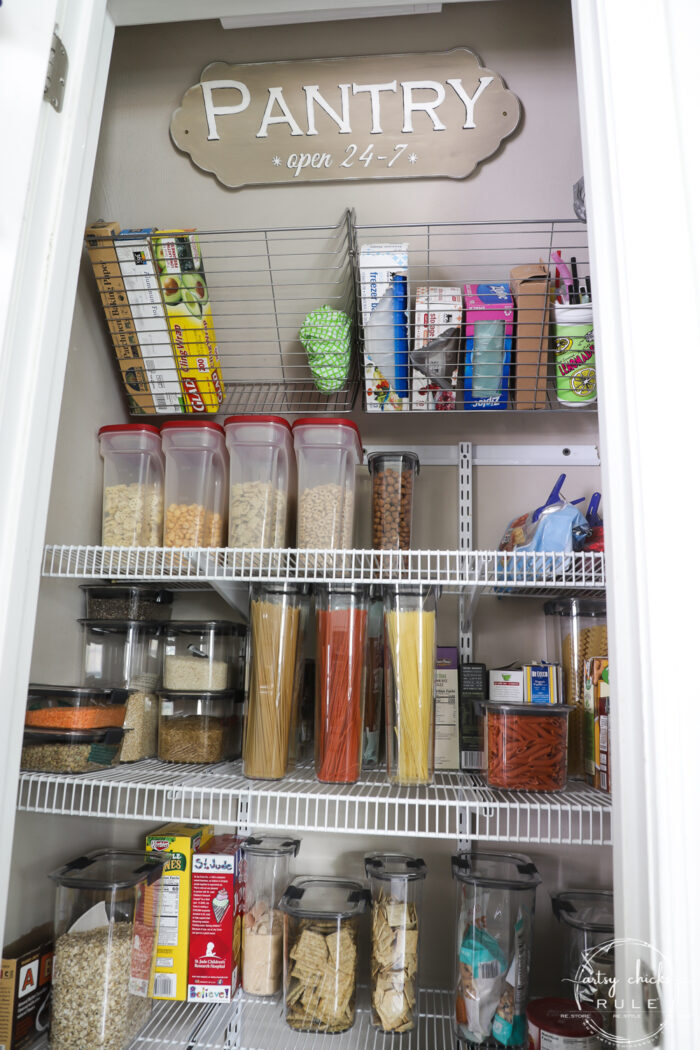 Pantry closet with pantry sign
