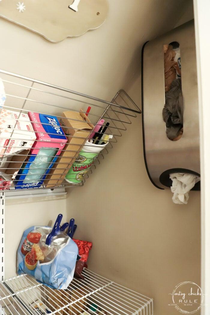 Metal bin for plastic grocery bags