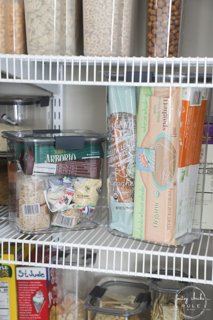 Kitchen food storage - rice and other small bags inside one container