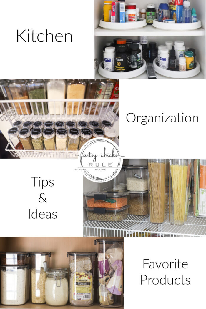 Kitchen organization tips, ideas, and my favorite products for using every single inch in your kitchen and pantry! artsychicksrule.com
