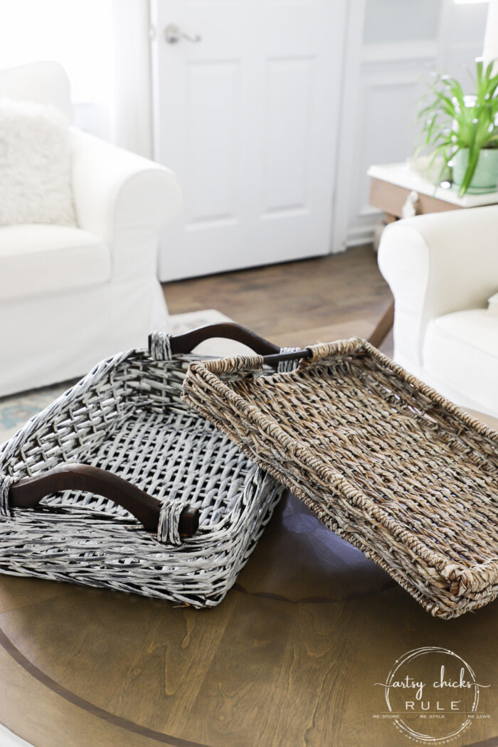White and tan basket on table top