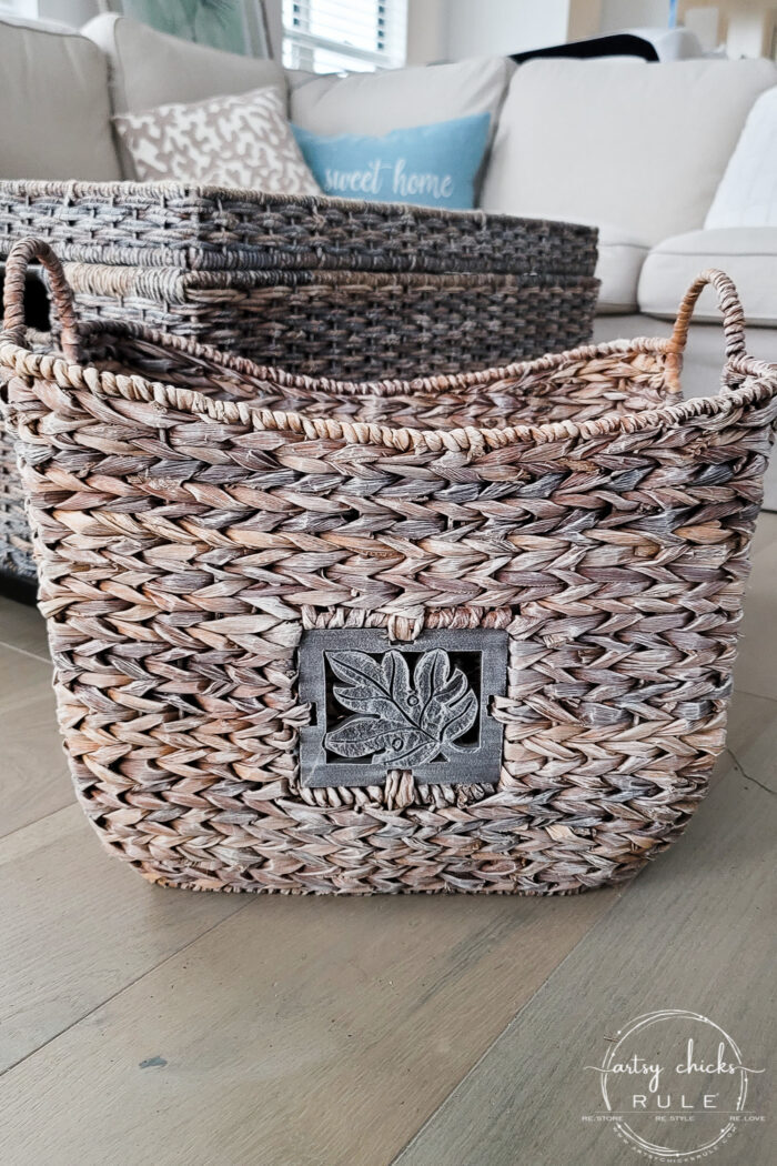 Dry brushed basket with white paint