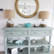 Aqua Console Table (with driftwood stain)