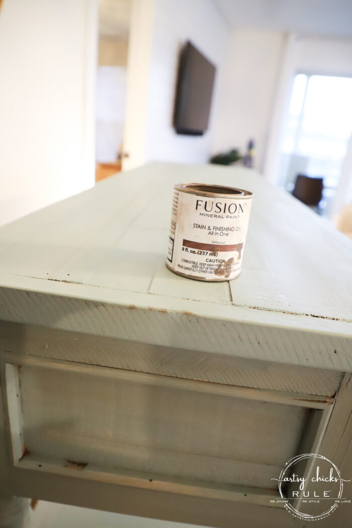 fusion driftwood stain can on top of aqua console