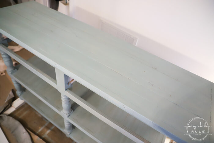 aqua console table with two bottom shelves done top shelf without stain