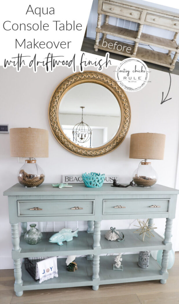This previously yellow furniture find got a new look... a coastal aqua console table with a gorgeous hint of driftwood to finish the look!