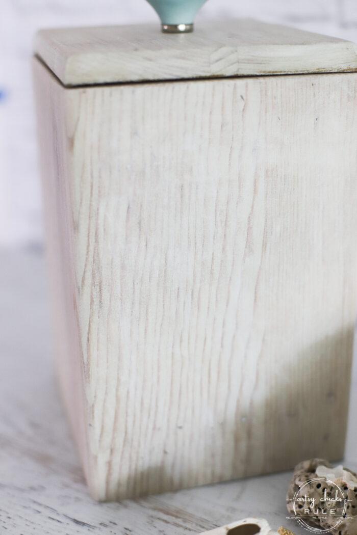 bleached wood look box up close wood grain