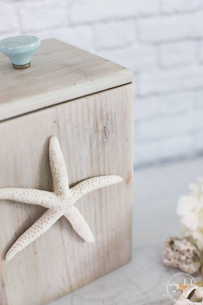 whitewash wood box with starfish on front